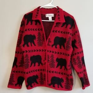 Vintage • Bear Pinetree Winter Wool Cardigan